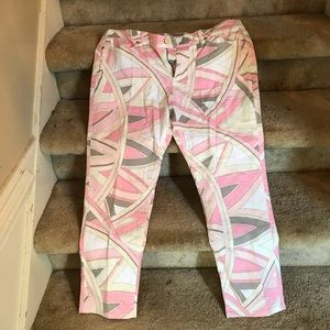 NY&C low rise ankle skinny jeans pink patterned